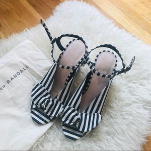 Loeffler Randal Striped Leigh Bow Heels
